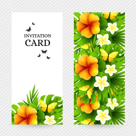 mariposas amarillas: fondo hawaiano tropical con hojas de árboles de la selva de palmeras, flores exóticas y mariposas amarillas. banderas de invitación de vectores verticales con hibisco decoraciones florales y espacio de la copia