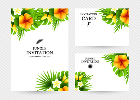 yellow butterflies: Summer tropical hawaiian background with jungle palm tree leaves, exotic hibiscus flowers and yellow butterflies.
