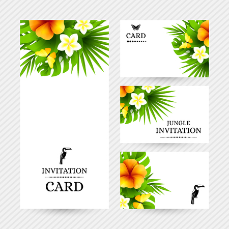 mariposas amarillas: Summer tropical hawaiian background with jungle palm tree leaves, exotic hibiscus flowers and yellow butterflies.