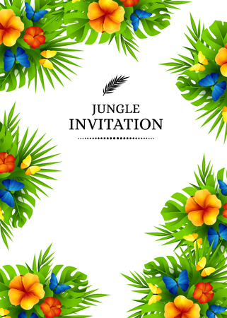 Tropical hawaiian background with jungle palm tree leaves, exotic flowers and rainbow butterflies. Vertical vector  invitation banners with hibiscus floral decorations and copy space Stock Illustratie