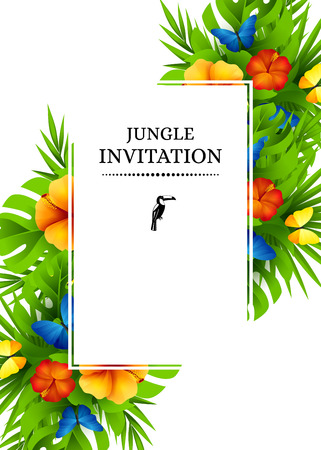 Tropical hawaiian background with jungle palm tree leaves, exotic flowers and rainbow butterflies. Vertical vector  invitation banners with hibiscus floral decorations and copy space Illustration