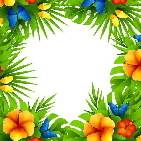 Summer tropical hawaiian background with jungle palm tree leaves, exotic flowers and rainbow butterflies. Stock Illustratie