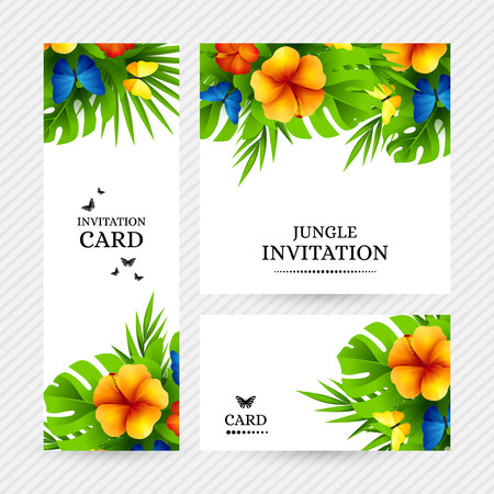 Summer tropical hawaiian background with jungle palm tree leaves, exotic hibiscus flowers and rainbow butterflies. Stock Illustratie