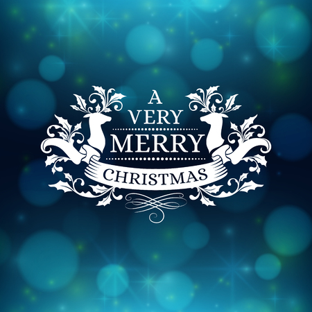 dark blue background: Christmas poster with dark blue abstract vector background. Xmas greeting card with ornament decoration, winter holiday design elements and celebration text Illustration