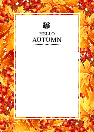 autumn leaves background: Autumn background with fall maple tree leaves and rowanberry. Vertical vector  invitation banners with season foliage decorations and copy space Illustration