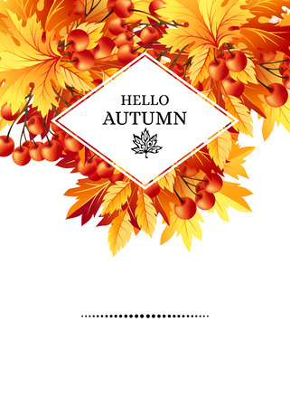Autumn background with fall maple tree leaves and rowanberry. Vertical vector  invitation banners with season foliage decorations and copy space Illustration