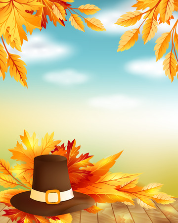 hi hat: Thanksgiving poster with decorative design elements and blue sky background. Illustration