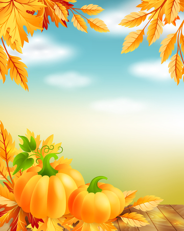 fall harvest: Thanksgiving poster with decorative design elements and blue sky background. Illustration