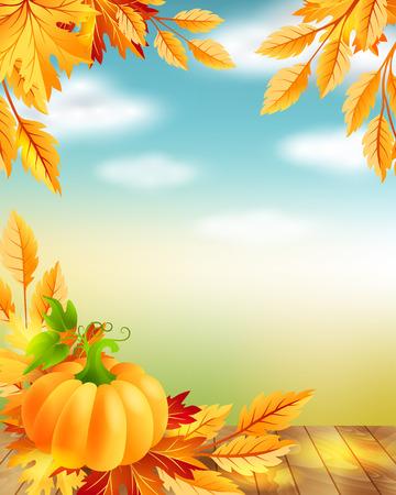 harvest background: Thanksgiving poster with decorative design elements and blue sky background. Illustration