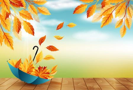 Autumn background with umbrella, flying fall leaves and blue sky Vector Illustration