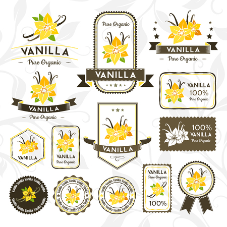 Vanilla pods and flowers. Labels, stamps and stickers set. Vector decorative isolated elements for package design.