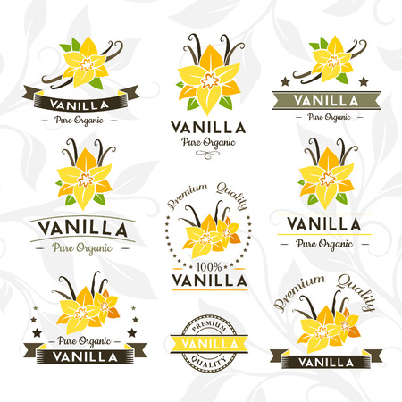 Vanilla pods and flowers.  Badges and labels, emblems collection. Vector decorative isolated elements for package design.