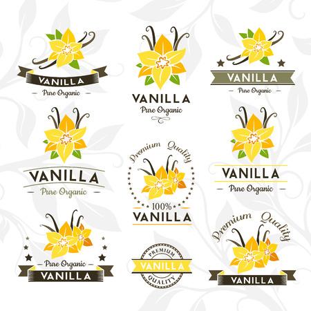 Vanilleschoten und Blumen. Abzeichen und Etiketten, Embleme Sammlung. Vector dekorativ isoliert Elemente für Verpackungsdesign. Vektorgrafik