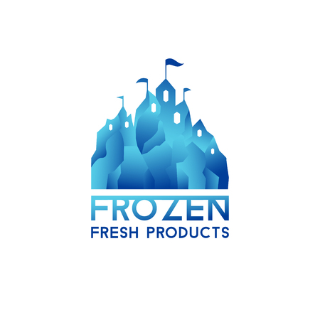 freeze: Winter blue castle. Logo for frozen products. Freeze crystal ice abstract vector icon.