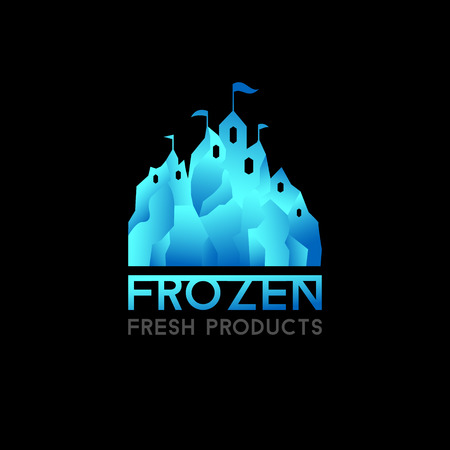 freeze: Castle logo for frozen products. Freeze crystal ice abstract vector icon. Illustration