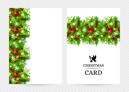 holiday garland: Christmas banners with fir branches, holly leaves, red holly berries and glowing snowflakes. Winter holiday backgrounds with decorations and greeting text. Vertical vector illustration. Illustration