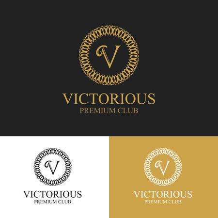 Monogram emblem in dark, light and gold color variants.