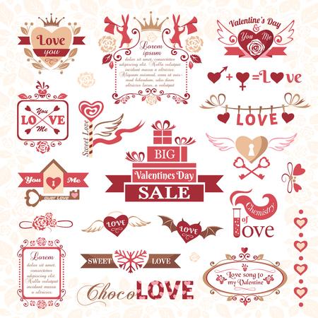 Set Valentinstag Objekte, Liebe Symbol - Amor, Liebe, Herzen, Tauben ...