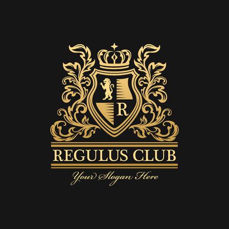 Heraldic logo template. Vintage ornamental emblem with lion, monogram, crown symbols and flourish decorations. Dark background Illustration