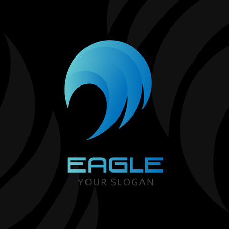 prophetic: Abstract eagle logo. Vector template of blue falcon symbol. Bark background Illustration