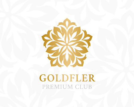 gold floral: Gold ornamental logo. Floral design element. Vector decorative symbol for hotel, spa salon, premium club or other firm and brand.