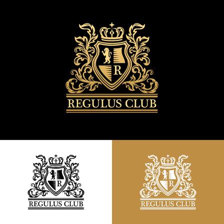 Heraldic logo template. Vintage ornamental emblem with lion, monogram, crown symbols and flourish decorations. Three color variantion.