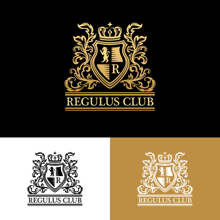 Heraldic logo template. Vintage ornamental emblem with lion, monogram, crown symbols and flourish decorations. Three color variantion.