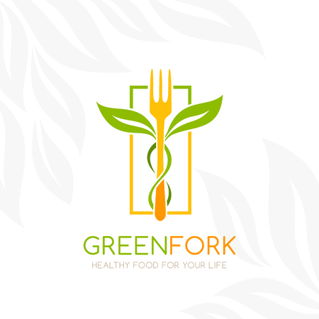 Healthy food logo. Fork with green leaves decoration. Vector icon template for vegan restaurant, diet menu, natural products,  family farm. Light background Stock Illustratie