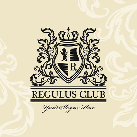 Heraldic logo template. Vintage emblem with lion, monogram, crown symbols and flourish decorations on the light ornamental background