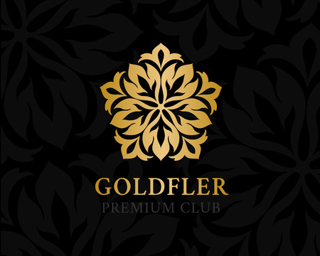 Gold ornamental logo. Floral design element. Vector decorative symbol for hotel, spa salon, premium club or other firm and brand. Logo