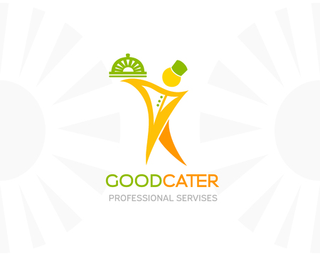 food: Catering logo template. Waiter with food tray. Conceptual icon for restaurant menu, vegan cafe, natural product store or service Illustration