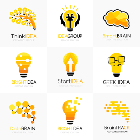 Social innovation logos collection. Vector illustration. Conceptual icons for learning, creative business, innovation brands, science forums and chats Illustration