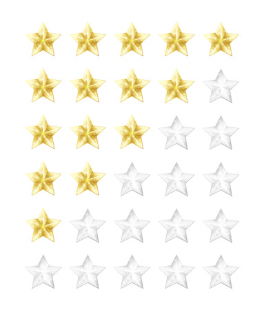 5 빛나는 황금과 은색 별 등급 아이콘을 설정합니다. 벡터 일러스트 레이 션