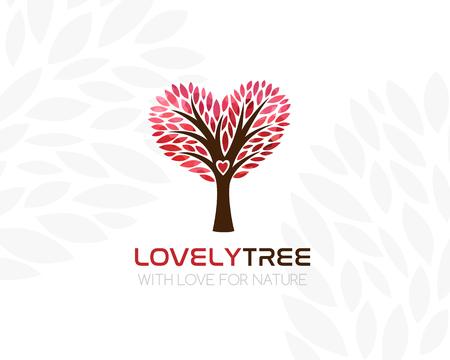 Baum Mit Herzförmiger Krone. Logo Vorlage. Concept Icon Für ...