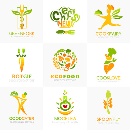 Natural food logo templates. Conceptual icon for natural, vegan, bio, organic farm, healthy vegan product store or shop. Chef, ingredients, spoon, fork, catering symbols.