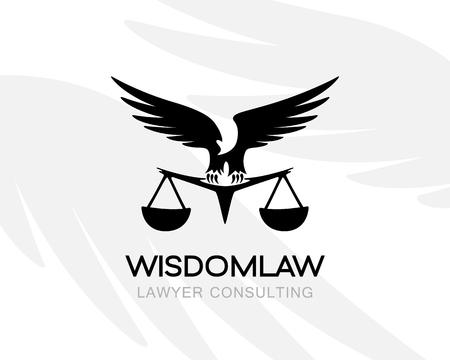 Eagle with balance. Law firm logo template. Concept for legal firms, notary offices or justice companies Illustration