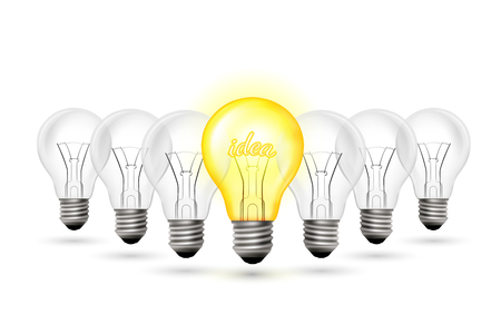 Light bulbs group and one yellow glow lamp. Idea concept vector illustration. Illustration