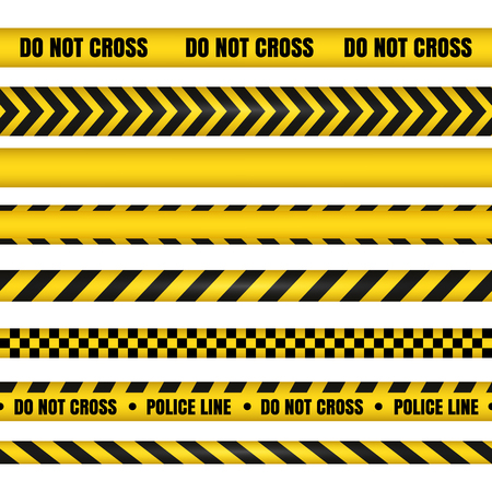 Police line and do not cross ribbons. Yellow danger tapes. Horizontal seamless borders. Vector illustration Illustration