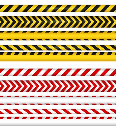 경찰 라인과 리본을 교차시키지 마십시오. 노란색과 빨간색 색상 위험 테이프입니다. 가로 원활한 테두리입니다. 벡터 일러스트 레이 션