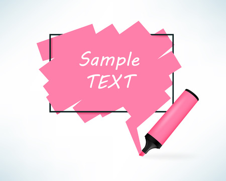 note paper: Text box with pen marker. Pink color frame with copy space. Vector illustration in realistic style.