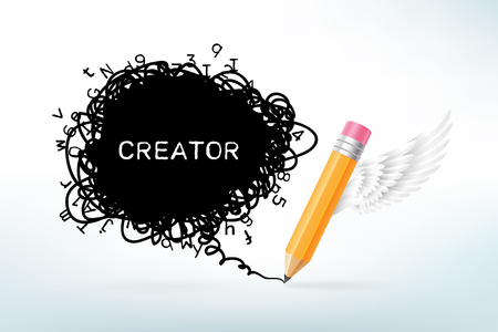 a creator: Thick pencil with white wing and black scribble text box. Creation and imagination concept. Vector illustration in realistic style.