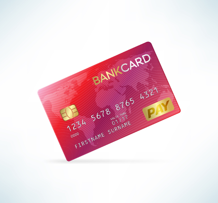 recive: Credit card in detailed realistic style. Red color. Template vector illustration.