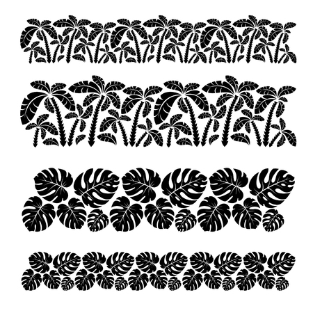 Palm tree tropical forest and monstera leaves seamless borders collection .