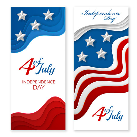 layered: American independence day paper cut design. Colorful carving art. 3D abstract vector background. Vertical layered  banners with USA flag concept.