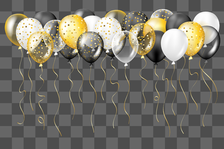 Black, white, gold, transparent and with confetti balloons border. Decorations in realistic style for birthday, anniversary or party design.