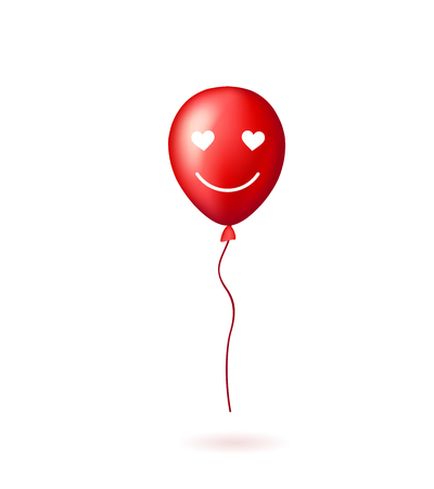 red balloons: Red balloon with smile lovely face on the white background