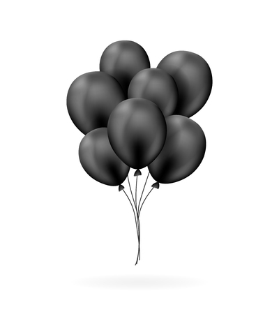 Black balloons bunch in realistic style on the white background
