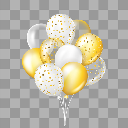 White and gold, transparent and with confetti balloons bunch. Decorations in realistic style for birthday, anniversary or party design.