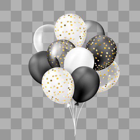 Black and white, transparent and with confetti balloons bunch. Decorations in realistic style for birthday, anniversary or party design.