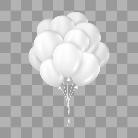 White balloons bunch. Decorations in realistic style for birthday, anniversary or party design.